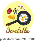 Top view omellete cooking ingredients cartoon free 29402901