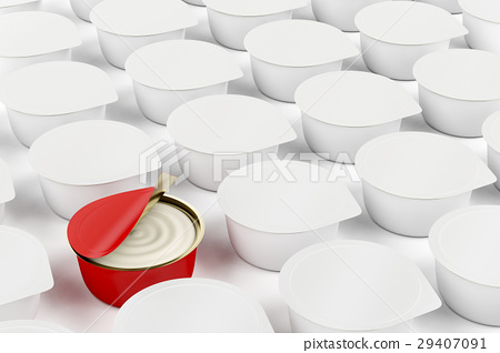 Red can with cream cheese, butter or other food 29407091