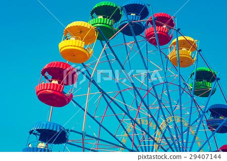 Vintage Ferris Wheel Over Turquoise Sky 29407144