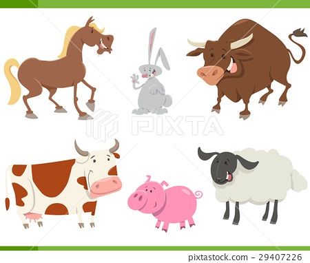 cute farm animals cartoon set 29407226