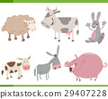 cartoon farm animal characters set 29407228
