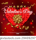 Valentines day background with red heart for 29409297