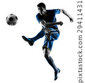 soccer player man kicking silhouette isolated  29411431
