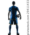 soccer player man standing back  silhouett 29411433