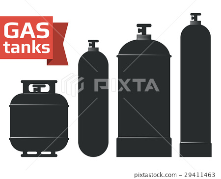 Various gas tanks sihlouette icons set. 29411463