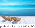 Beach lounge, sundeck over blue sea and sky 29417665