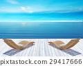 Beach lounge, sundeck over blue sea and sky 29417666