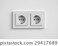 white double socket on wall - electric plug 29417689