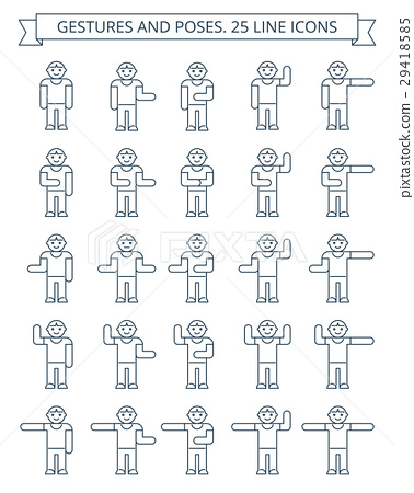 Gestures and poses line icons 29418585