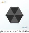beach umbrella  icon origami black color 29419650