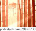 Illustration of pinewood forest with sun rays. 29420233