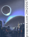 the futuristic city with planets and solar eclips 29420567