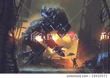kid giving umbrella to giant robot 29420571