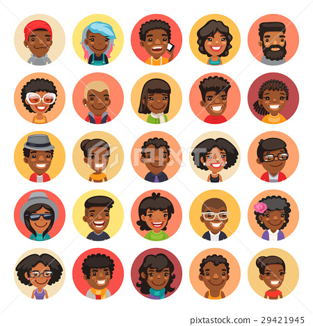 Flat African American Round Avatars on Color 29421945