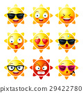 Sun, Smiley face icons or yellow emoticons 29422780
