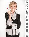 Charming, joyful businesswoman holding a pen 29423914