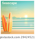 Seascape background with surfboards on the beach 29424521