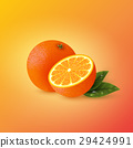 Realistic orange with leaves. 29424991