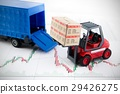 Forklift truck toys with boxes. 29426275