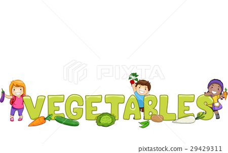 Kids Word Vegetables Lettering 29429311