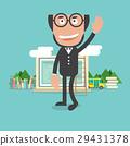 Happy Bald Head Teacher With Education Concept  29431378