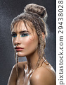 Beautiful girl with blue makeup in water drops 29438028