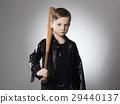 little criminal boy with baseball bat.Funny child 29440137