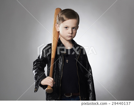 little criminal boy with baseball bat.Funny child 29440137