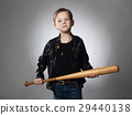 little criminal boy with baseball bat.Funny child 29440138