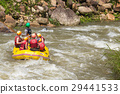 Tourists who rafting on the river 29441533