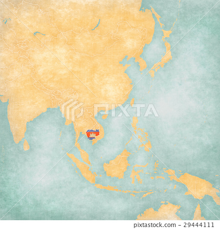 Map of East Asia - Cambodia - Stock Illustration [29444111 ...