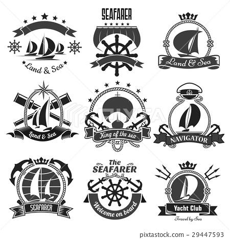 Nautical Heraldic Symbols Marine Vector Icons Set Stock