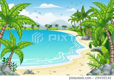 Illustration of a tropical coastal landscape 29450530