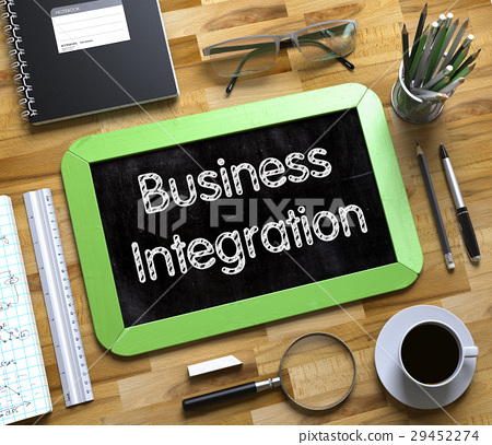 Business Integration on Small Chalkboard. 3d. 29452274