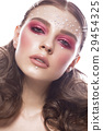 Beautiful girl with perfect art makeup and pearl 29454325