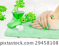 beautiful green manicure with chrysanthemum and 29458108