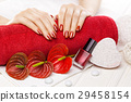 Luxuryl red manicure with red calla flower and 29458154