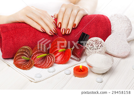 Luxuryl red manicure with red calla flower and 29458158