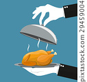 silver cloche serving Roasted chicken on plate. 29459004