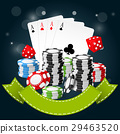 Gambling and casino - poker chips, playing cards 29463520
