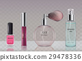 Collection of glass cosmetic bottles in realistic 29478336