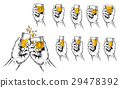 Vector illustration of two hands raised stemware 29478392