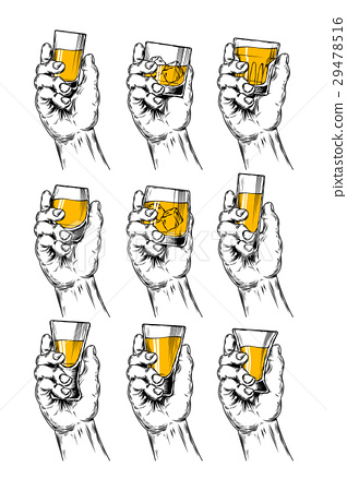 Set of vector illustrations  hands holding stemwar 29478516