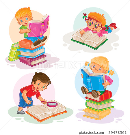 Set icons of small children reading a book 29478561