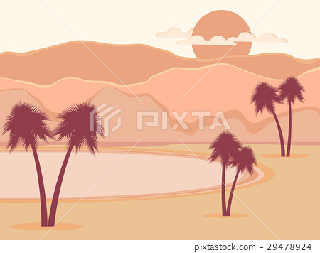 Oasis with palm trees. Desert. Vector illustration 29478924