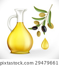 Glass jug with oil and olives with leaves 29479661