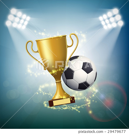 Soccer ball with the golden cup of championship. 29479677