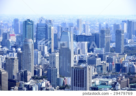东京城市风景建筑群和住宅区 29479769