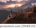 dolomites mountain church at sunset 29480192