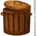 Wooden trashcan with lid 29480629